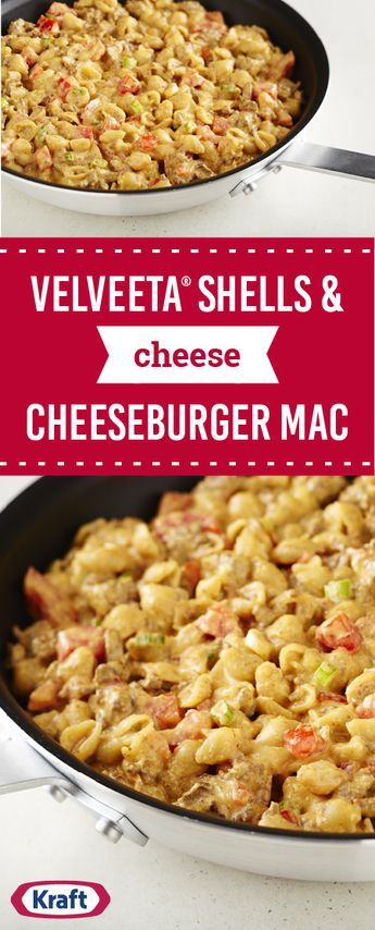 VELVEETA® Shells & Cheese Cheeseburger Mac – Get a leg up on dinner thanks to this cheesy pasta dish. Add ground beef, tomatoes, and more to get this recipe on the table in just 35 minutes.