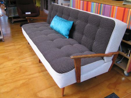 Retro sofa, revamped with contrast panelling, button detail - Living Room, Wellington