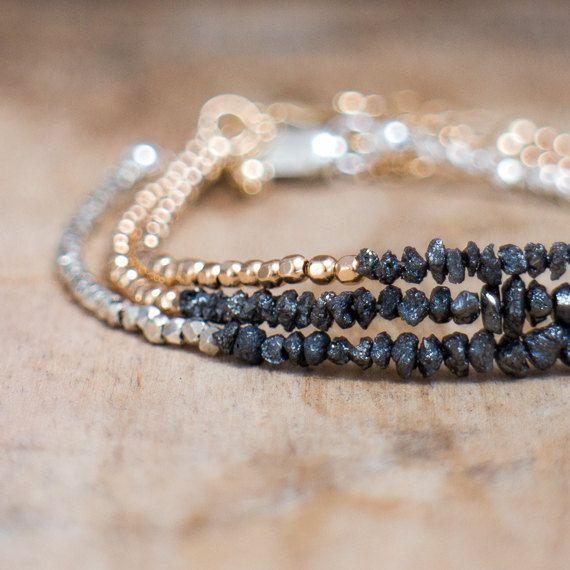 Diamond Bracelet Black Rough Diamond Bracelet Delicate