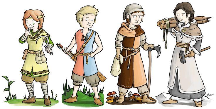 "Larp characters, kidslarp ""het wisselwoud"" Gamesnstuff, 4 groups, spring, summer, fall and winter"