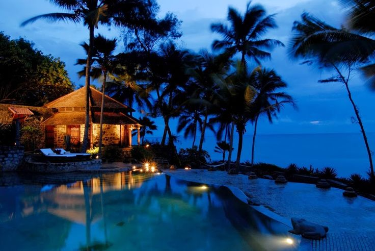 The #Octagon & #Pool at night in #Niraamaya #Retreats - #Surya #Samundra in God's Own Country #Kerala - A #RareIndia #Retreat ! A perfect haven to rejuvenate!  Explore More: http://bit.ly/1tdkOmx