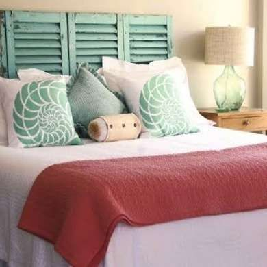Love this for a guest bedroom. Especially the pretty shutter headboard!