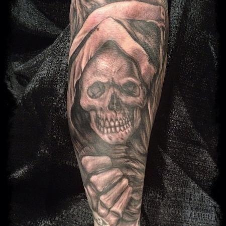 Grey Ink Grim Reaper Skull Tattoo On Sleeve