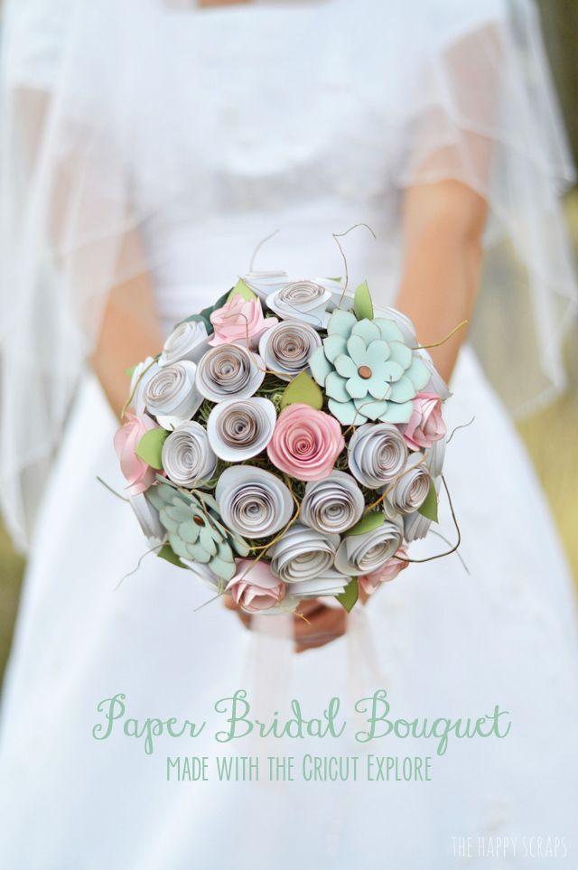 DIY Paper Bridal Bouquet made with Cricut Explore -- The Happy Scraps. #DesignSpaceStar Round 3
