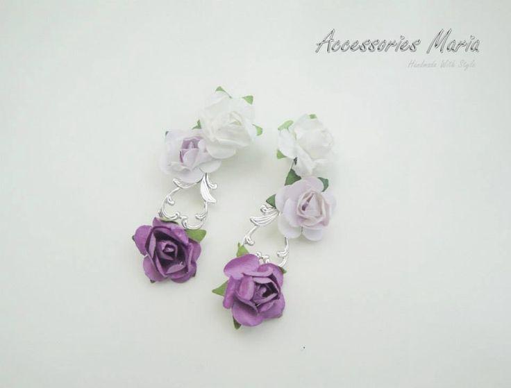 Cercei cu trandafiri (20 LEI la AccessoriesMaria.breslo.ro)  #earrings #flowers #roses #handmade #AccessoriesMaria