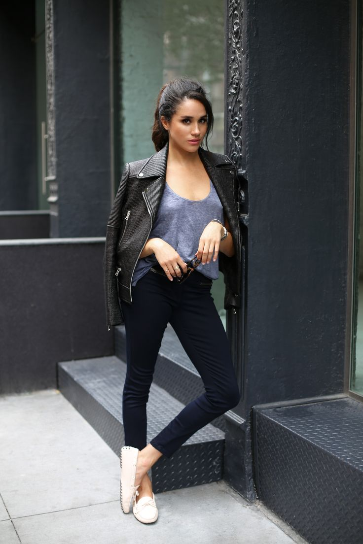 Meghan Markle, Veronica Beard Bonita Biker Jacket and Veronica Beard Skinny Crop Denim
