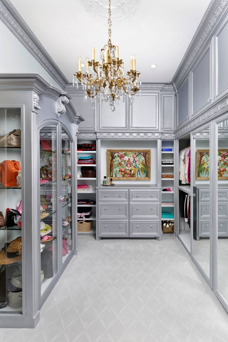 grey victorian closet glam room chandelier decor