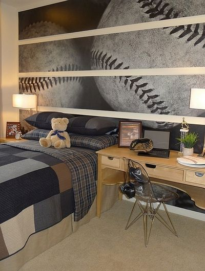 Boy or girl bedroom maybe change it to volleyball haha - (via Wall Murals, Decals, Sports Themed Interiors)