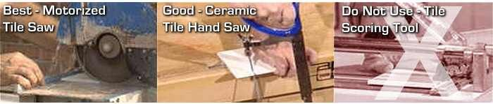 Cutting stainless steel mosaic tiles should ideally be done using a wet saw with a diamond rimmed blade. Any other type of electric saw will create scorch marks on the metal, but this can often be smoothed with a fine abrasive pad.    Do not use a tile scoring tool.    The picture below shows a side view of a standard stainless steel mosaic tile. It is comprised of a ceramic base and capped with the stainless steel. This makes it much easier to cut than if it were solid stainless steel.