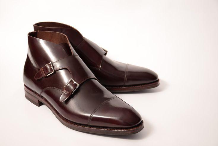 Mens Double Monk Strap Shoes Images Burgundy Trim