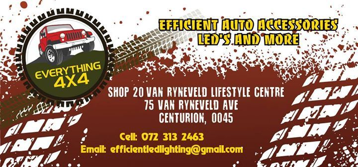 Dear Valued Clients, Should you require latest pricing or have any urgent queries please e-mail us on efficientledlighting@gmail.com so that we can forward you the special offers available and order process. Alternatively Contact Gerhard 0723132463 (Led and other) or Hein 0743110358 (Tyres)