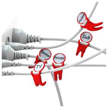 Peleg Design Держатели для проводов the mark brothers  — 710 руб. —  Многочисленные провода от компьютера или телевизора спутаны в клубок? Братья Mark спешат на помощь, с ними вы запросто разберетесь, что к чему ведёт. Эта семейка акробатов прыгает с кабеля на кабель, помечая каждый - на голове у них специальные бирки, просто впишите название устройства. Теперь вы не перепутаете, какой провод к чему и от чего. В наборе 5 держателей-маркеров.