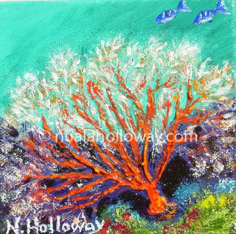 """Seafan"" by Nuala Holloway - Oil and Sand on Canvas ~ Part of Nuala's ""Coral Collection"" bringing attention to the beauty of this important and endangered Oceanic eco-system www.nualaholloway.com #Coral #IrishArt #SeaLife #Ecosystem"