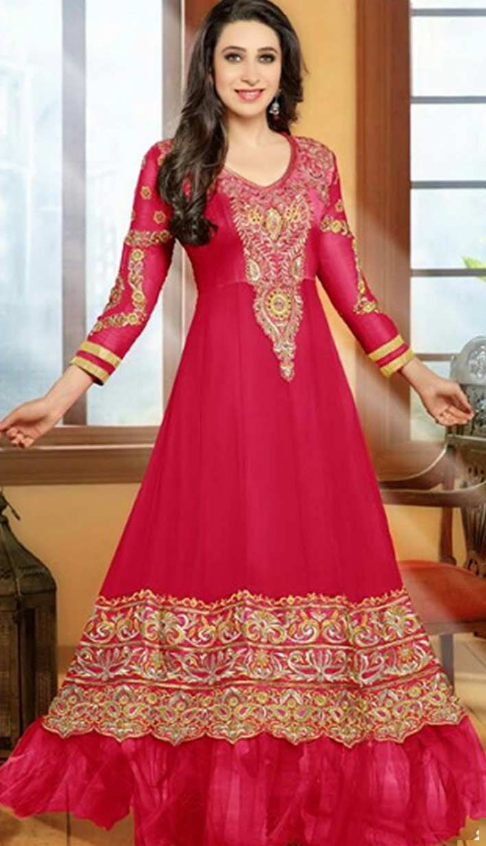 Select Online Beautiful Ethnic Red Georgette Churidar #Anarkali ...