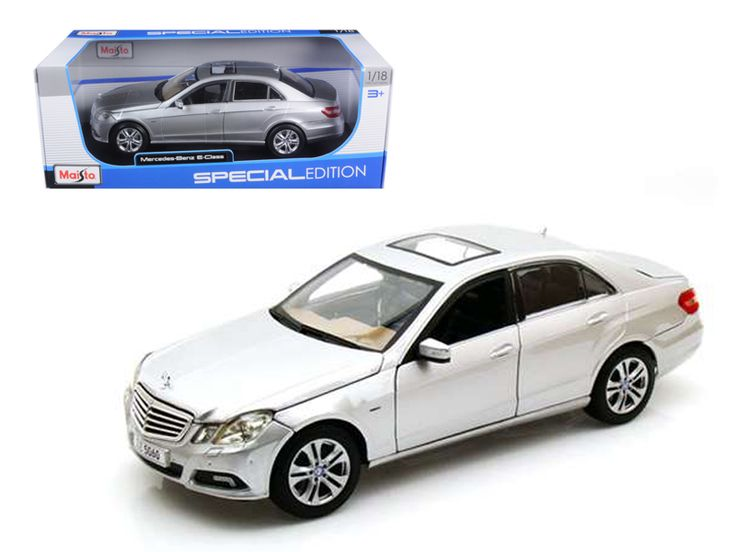 2009 2010 Mercedes E Class E350 E 350 Silver 1/18 Diecast Model Car by Maisto - Brand new 1:18 scale diecast model car of 2009 2010 Mercedes E Class E350 E 350 Silver die cast car model by Maisto. Has steerable wheels. Brand new box. Rubber tires. Has opening hood, doors and trunk. Made of diecast with some plastic parts. Detailed interior, exterior, engine compartment. Dimensions approximately L-10.5, W-4, H-3.5 inches. Please note that manufacturer may change packing box at anytime…