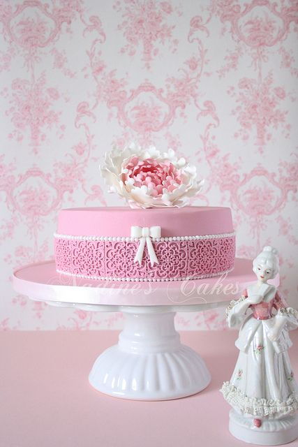 pink encased in lace... beautiful Mother's Day cake or maybe birthday