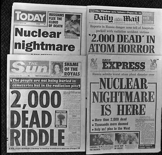 Front pages of British morning newspapers after the Chernobyl disaster on April 26th, 1986