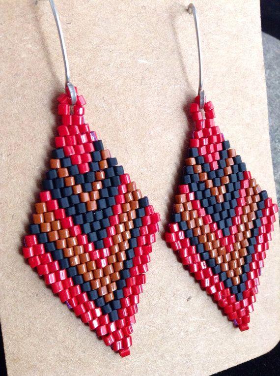 Beadwork Earrings. Beaded Earrings. Native American Style Earrings. Brick Stitch Earrings on Etsy, $40.00