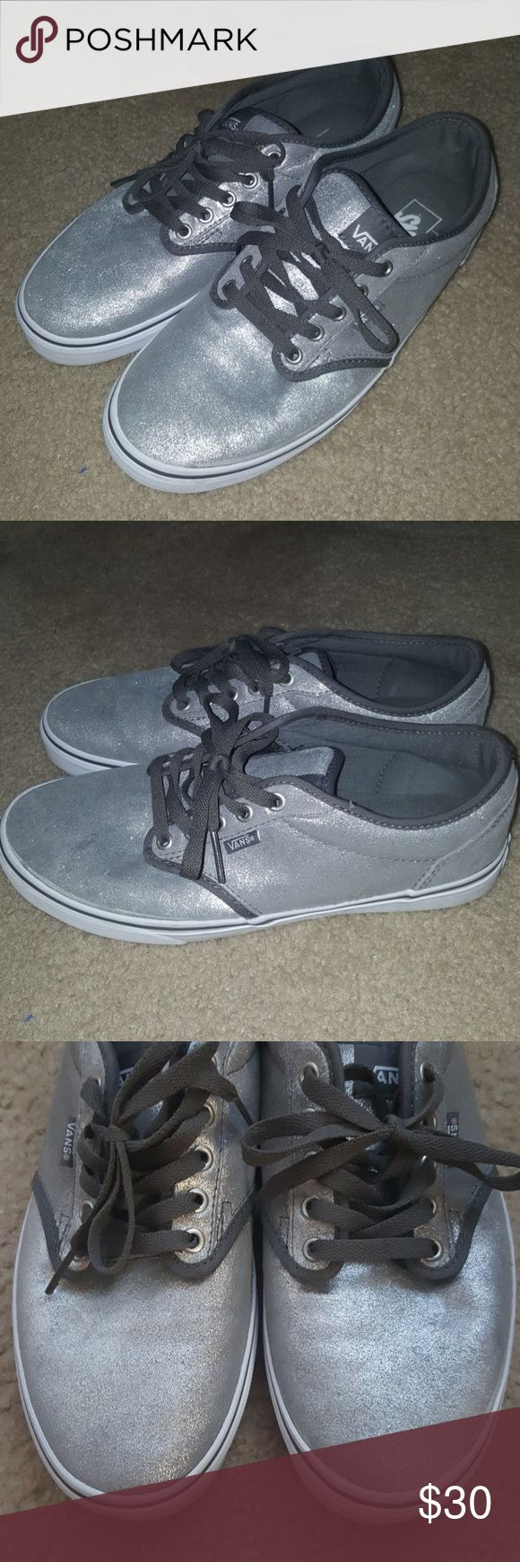 Women's Silver Glitter Vans Sneakers size 11 EUC Excellent used condition. Only worn twice. Silver glitter vans with gray laces. Women's size 11. Smoke and pet free home! No box. Will ship within 2 business days. Vans Shoes Sneakers