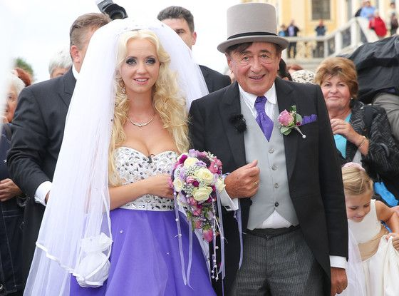 I don't condone this marriage but I guess they have the freedom to do as they please as long as it doesn't harm the majority of society. I am only posting this because I really like the dress. Billionaire Richard Lugner, 81, Marries 24-Year-Old Playboy Model Cathy Schmitz