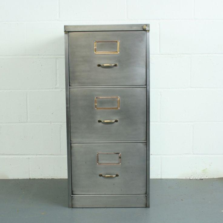 Vintage Polished Steel 3 Drawer Filing Cabinet