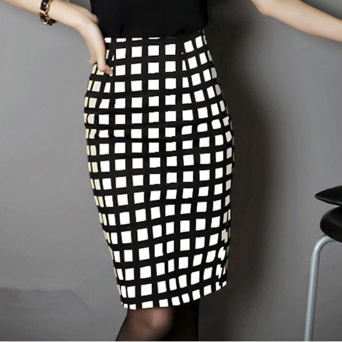 2015 нью женщины весна лето пр юбка горячая распродажа женский высокой талией юбка черный и белый плед юбка карандаш тонкие бедра юбка купить на AliExpress