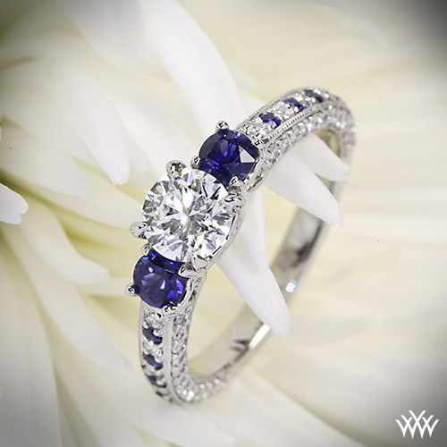 Customized 3 Stone Coeur de Clara Ashley Diamond Engagement Ring with a 0.780ct Expert Selection Diamond and Sapphires. I'd love this in yellow gold