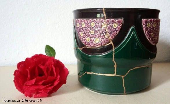 Vaso da fiori, primi 1900, Eichwald,restauro Kintsugi originale giapponese di KintsugiArteCeramica su Etsy