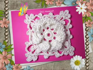 Tina's handicraft : video tutorial & pattern - 3D flower motif square ...