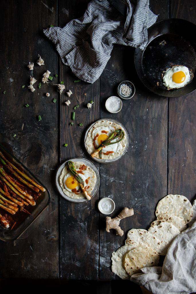 scallion kimchi egg tortillas | two red bowls