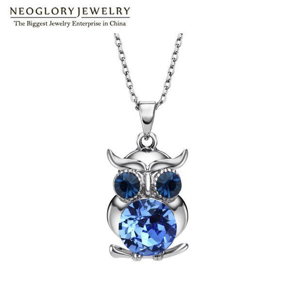 CL boho Neoglory Blue Austrian Crystals Owl  Chokers