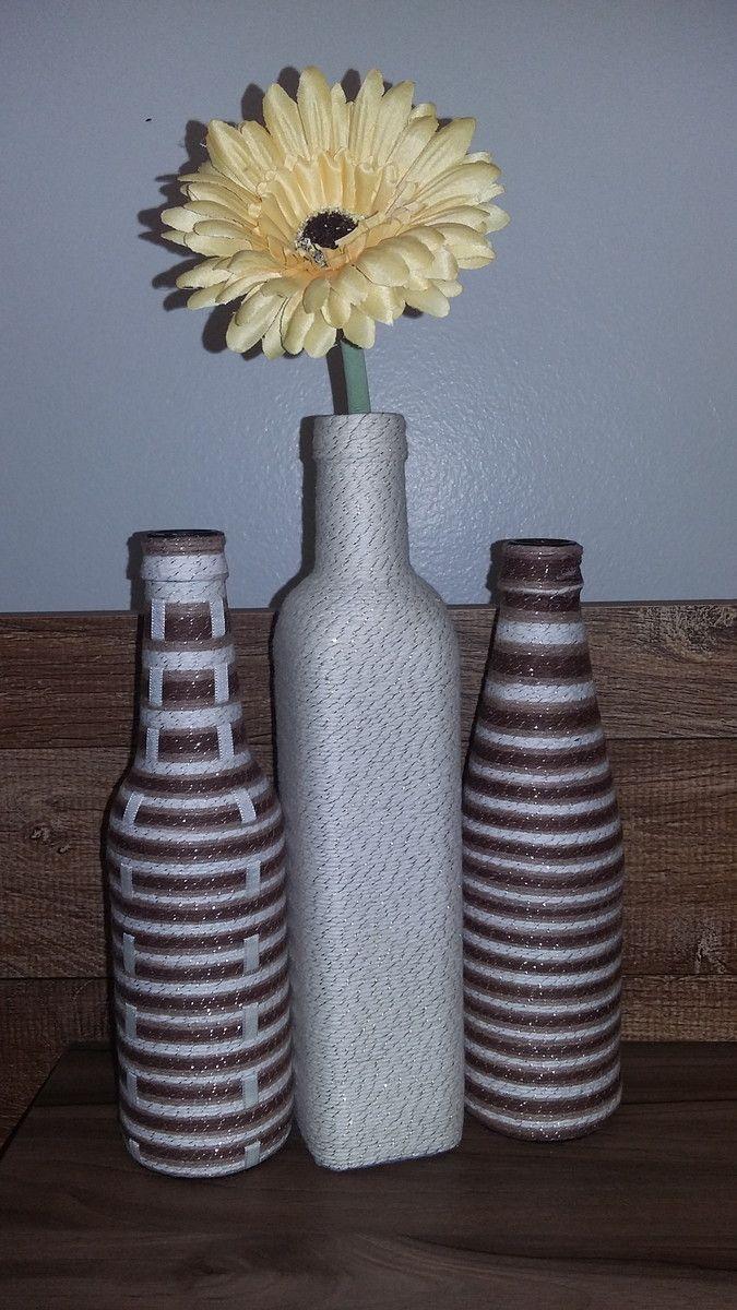 Trio de garrafas decorativas   Fio Decorativo   Elo7