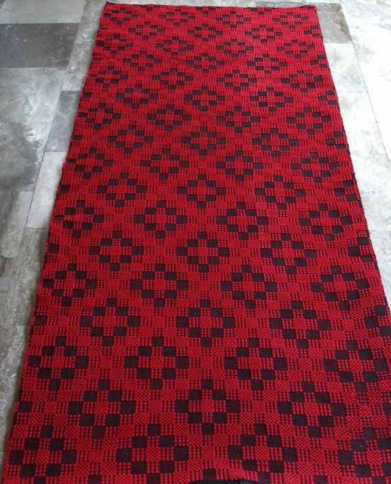 Vintage Kilim Rug Runner Geometric Carpet by VintageHomeStories