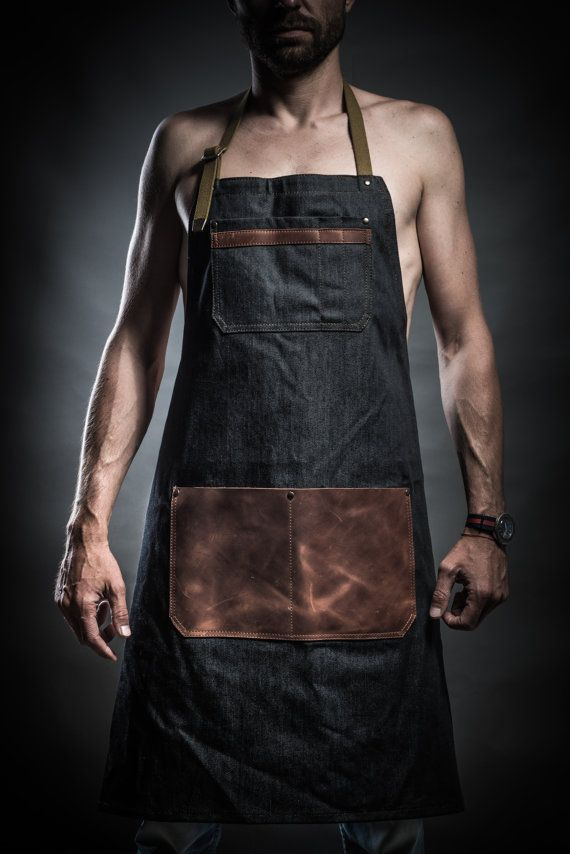 Denim apron with cowhide leather pockets by KrukGarage on Etsy
