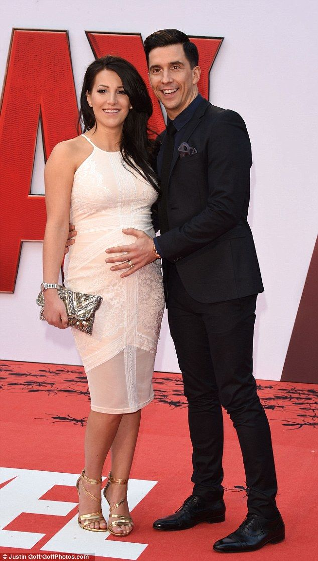 Date night: Comedian Russell Kane attended the premiere alongside his wifeLindsey Cole...