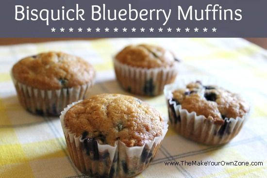 Quick recipe for blueberry muffins using Bisquick as the base - Save money and use a homemade version of Bisquick included here too