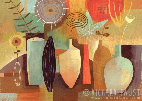 """©Richard Faust - 'Seven Vases' 5""""x8"""" (acrylic on paper) www.richardfaust.com"""