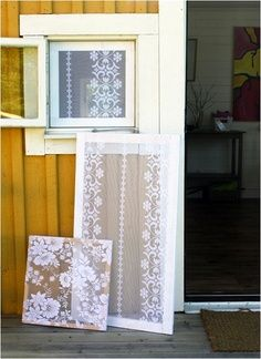 Lace isn't only trending in fashion, it's big in home décor too #DIY lace window screen.