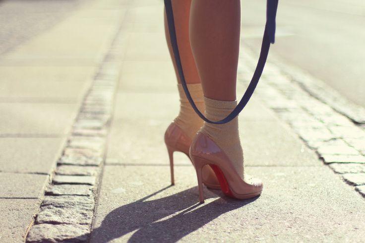 My beloved nude Louboutin Heels, cute styling with socks