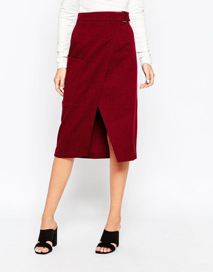 Image 4 of ASOS Premium A-Line Wrap Skirt with Pocket Detail