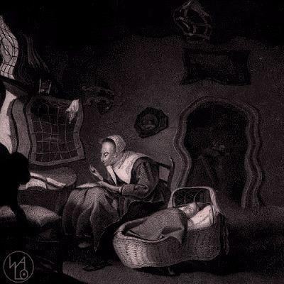 Una mujer cosiendo (J.Sartain)