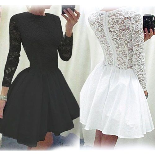 Sexy-Femmes-Robes-de-Dentelles-Mousseline-Jupe-Blanc-Noir-Dress-Robe-de-Soiree