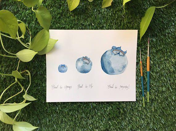 Illustration trio bleuets  Aquarelle  Fait à la main