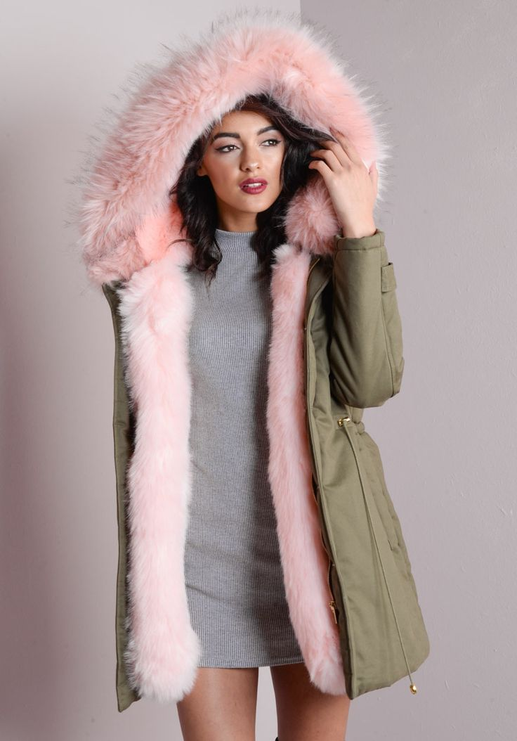 Pink Faux Fur Hooded Full Padded Parka Coat Khaki Green