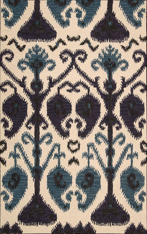 Nourison's Siam Collection- This sensational rug features a dynamic, boldly-scaled Ikat motif in stunning shades of navy, beige and ocean blue for a look and feel that is chic and cozy at the same time.  Nourison Rugs available at Legacy Floorcovering in Amarillo, TX.