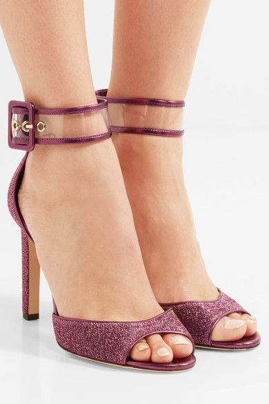 Jimmy Choo - Moscow Pvc-trimmed Lurex Sandals - Plum - IT40.5