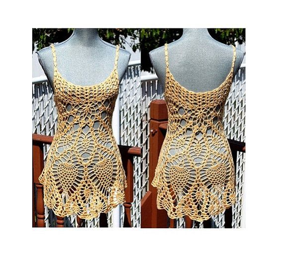 Crochet Beach Mini Dress / Cover Up Made to Order in by DearAlina, $119.00