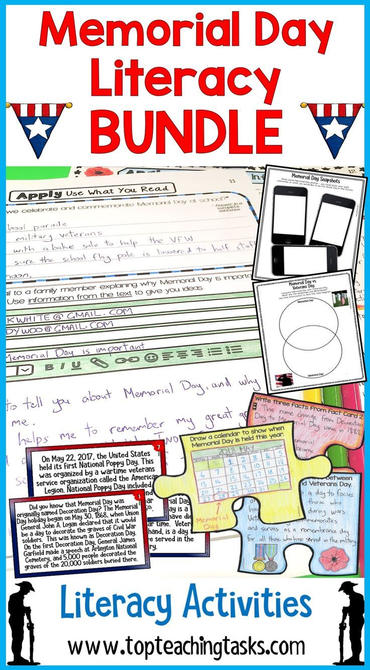 This Memorial Day Activities Bundle features Reading and Writing Literacy Activities. Perfect for reading comprehension and close reading for 4th Grade and 5th Grade!  Learn more about the history of Memorial Day and how Memorial Day is marked today. This  includes twelve Grade Three Grade Four and Grade Five reading, writing and creating resources. Great for literacy circles and rotations, early finishers, social studies and homework. Also includes an interactive scavenger hunt and puzzle.
