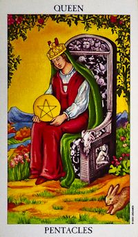 Queen of Pentacles Tarot Card Meanings Keywords    Upright: Practical, homely, motherly, down-to-earth, security    Reversed: Imbalance in work/ family commitments