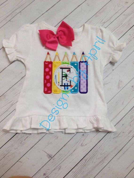 Monogrammed Crayon  Back to School   Pre K by DesignsbyApril1234, $21.00
